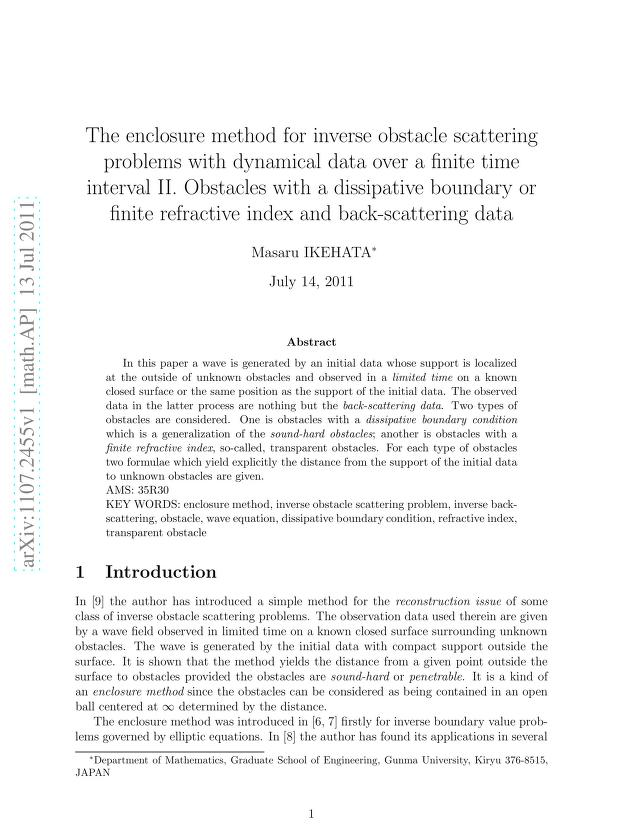 Masaru Ikehata - The enclosure method for inverse obstacle scattering problems with dynamical data over a finite time interval II. Obstacles with a dissipative boundary or finite refractive index and back-scattering data