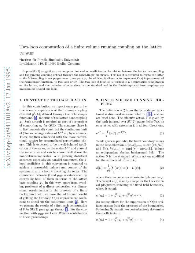 Ulli Wolff - Two-loop computation of a finite volume running coupling on the lattice
