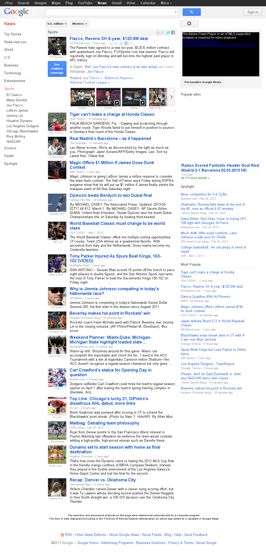 Google News: Sports at Saturday March 2, 2013, 6:07 p.m. UTC