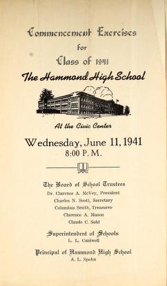 Commencement exercises for Class of 1941, The Hammond High School by Hammond High School (Hammond, Ind.)