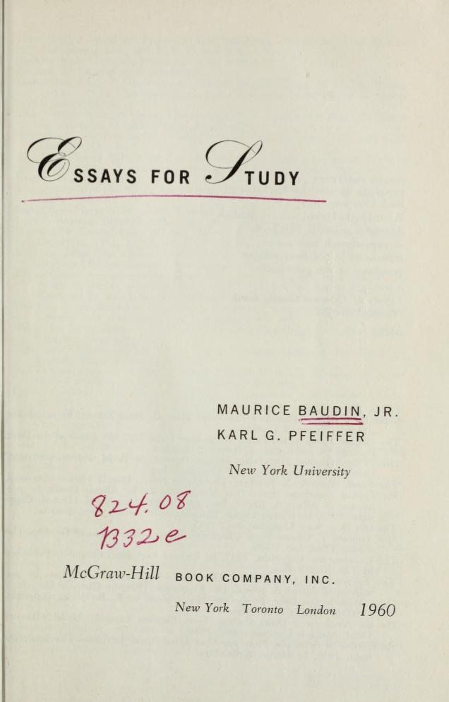 Essays for study by Baudin, Maurice